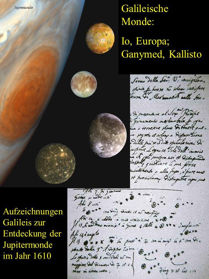 Galileische Monde: Io, Europa; Ganymed, Kallisto Aufzeichnungen Galileis zur Entdeckung der Jupitermonde im Jahr 1610 Jupitermonde