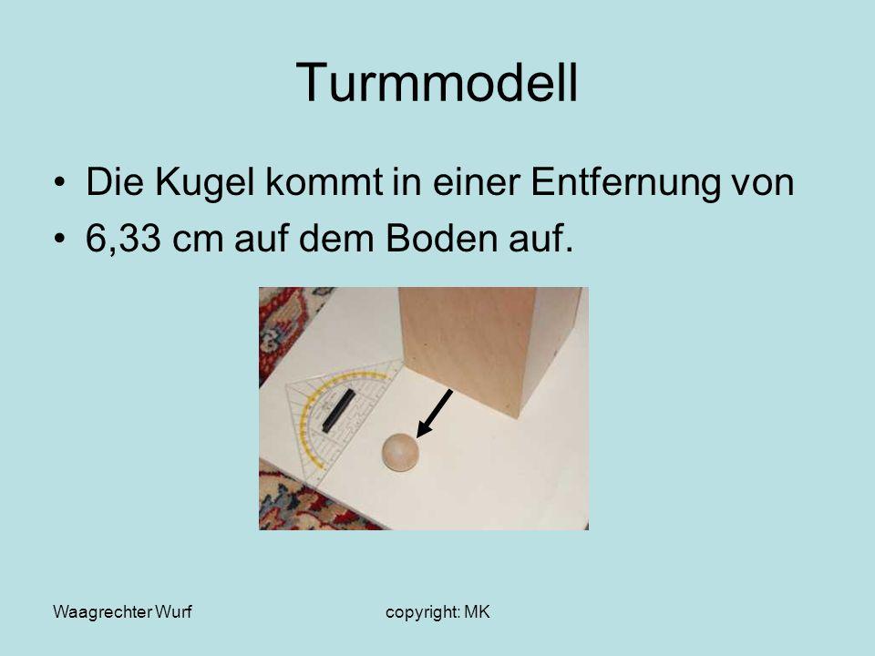 Waagrechter Wurfcopyright: MK Turmmodell Die Kugel kommt in einer Entfernung von 6,33 cm auf dem Boden auf.