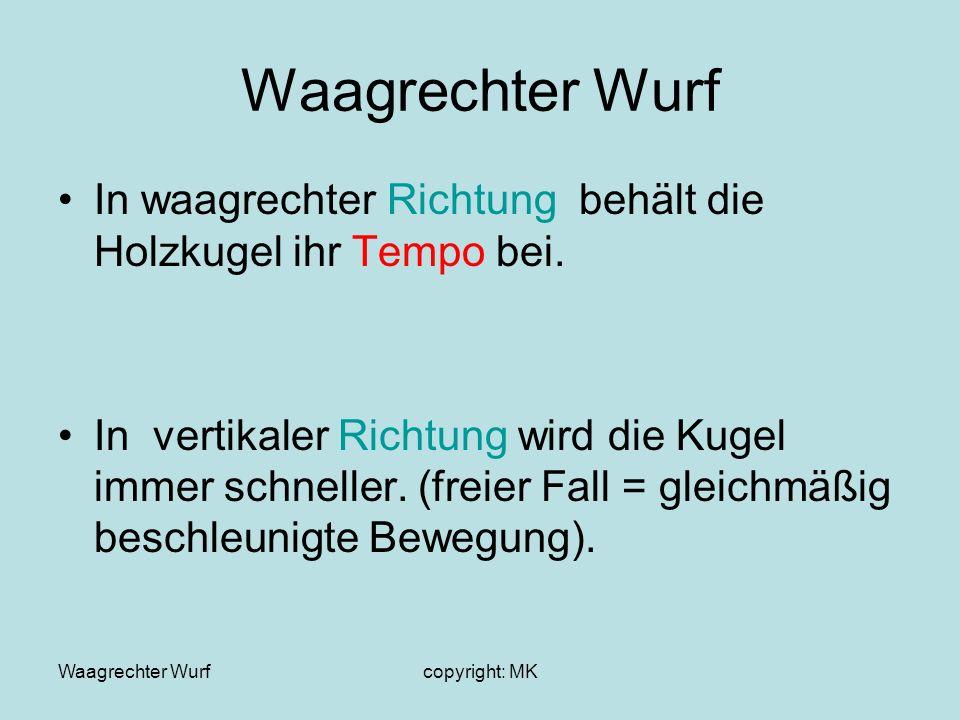 Waagrechter Wurfcopyright: MK Waagrechter Wurf Merke : Die Bewegung eines waagrechten Wurfes ist die Überlagerung einer Bewegung mit konstantem Tempo in horizontaler Richtung mit einer gleichmäßig beschleunigten Bewegung in vertikaler Richtung.