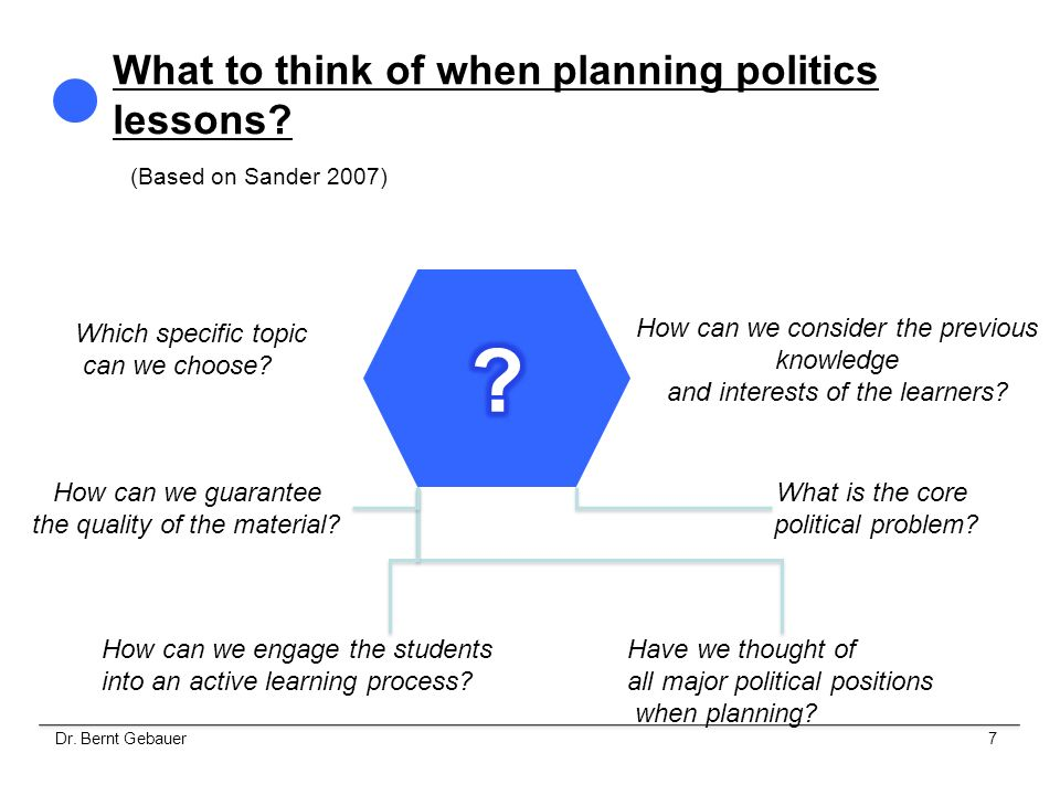 Professional competence influences the quality of lesson planning and lesson realisation through the ability, To reflect the specific role as politics teacher To communicate expertise as regards content To ask purposeful questions at the right time To create purposeful tasks at the right time To esteem and integrate contributions of pupils`ideas … 8Dr.