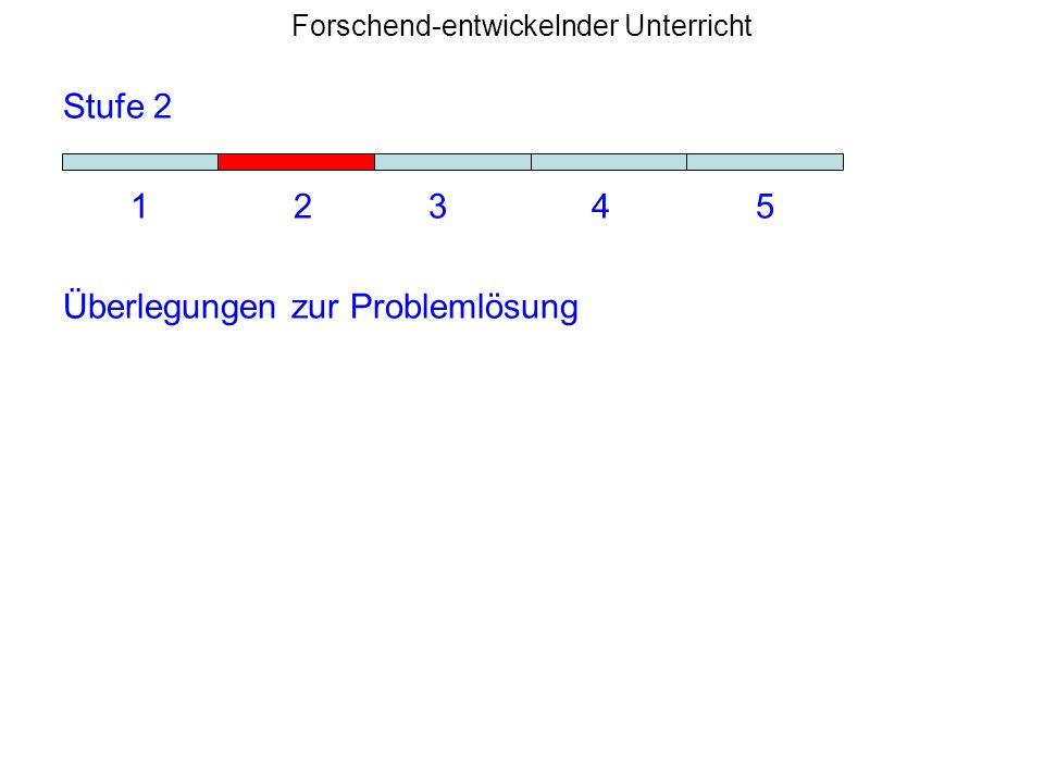 Forschend-entwickelnder Unterricht Stufe 2 1 2 3 4 5 Überlegungen zur Problemlösung