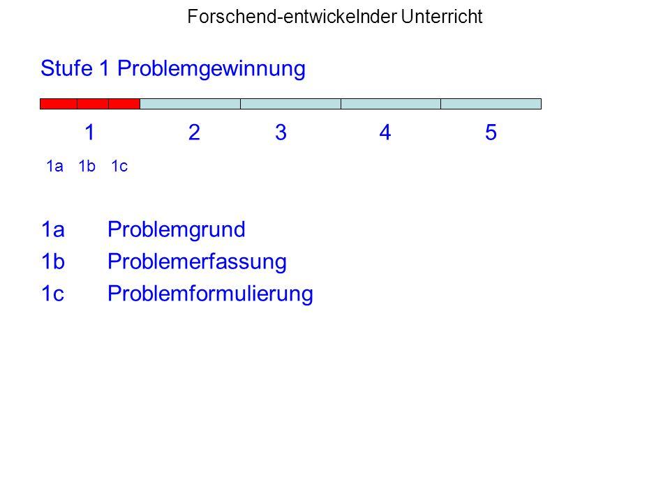 Forschend-entwickelnder Unterricht Stufe 1 Problemgewinnung 1 2 3 4 5 1a 1b 1c 1aProblemgrund 1bProblemerfassung 1cProblemformulierung