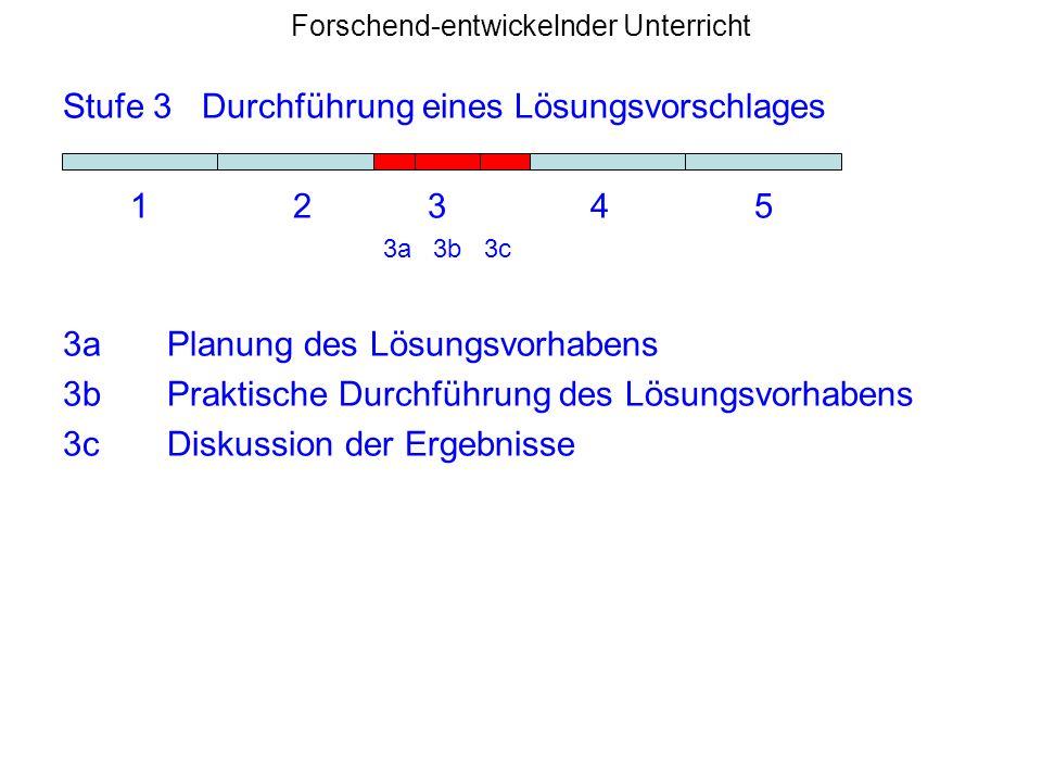 Forschend-entwickelnder Unterricht Stufe 3 Durchführung eines Lösungsvorschlages 1 2 3 4 5 3a 3b 3c 3aPlanung des Lösungsvorhabens 3bPraktische Durchf