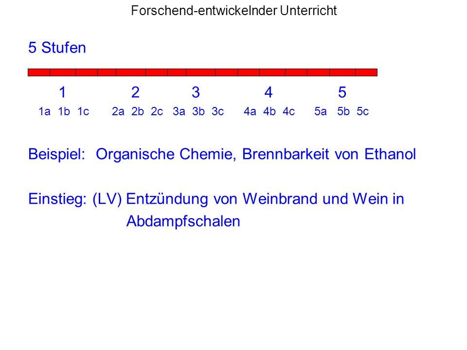 Forschend-entwickelnder Unterricht 5 Stufen 1 2 3 4 5 1a 1b 1c 2a 2b 2c 3a 3b 3c 4a 4b 4c 5a 5b 5c Beispiel: Organische Chemie, Brennbarkeit von Ethan