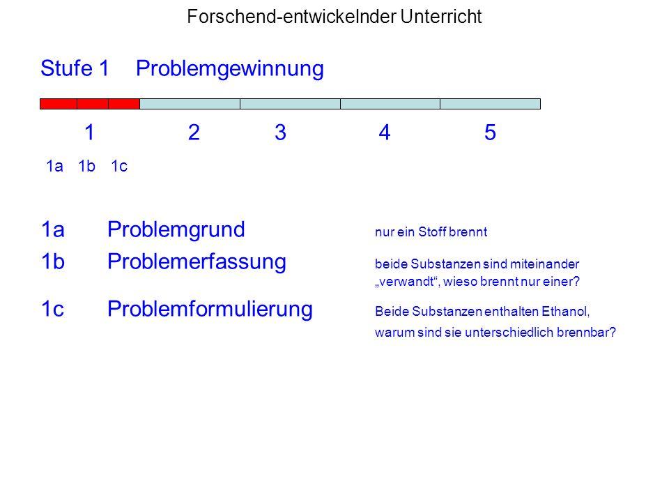 Forschend-entwickelnder Unterricht Stufe 1 Problemgewinnung 1 2 3 4 5 1a 1b 1c 1aProblemgrund nur ein Stoff brennt 1bProblemerfassung beide Substanzen