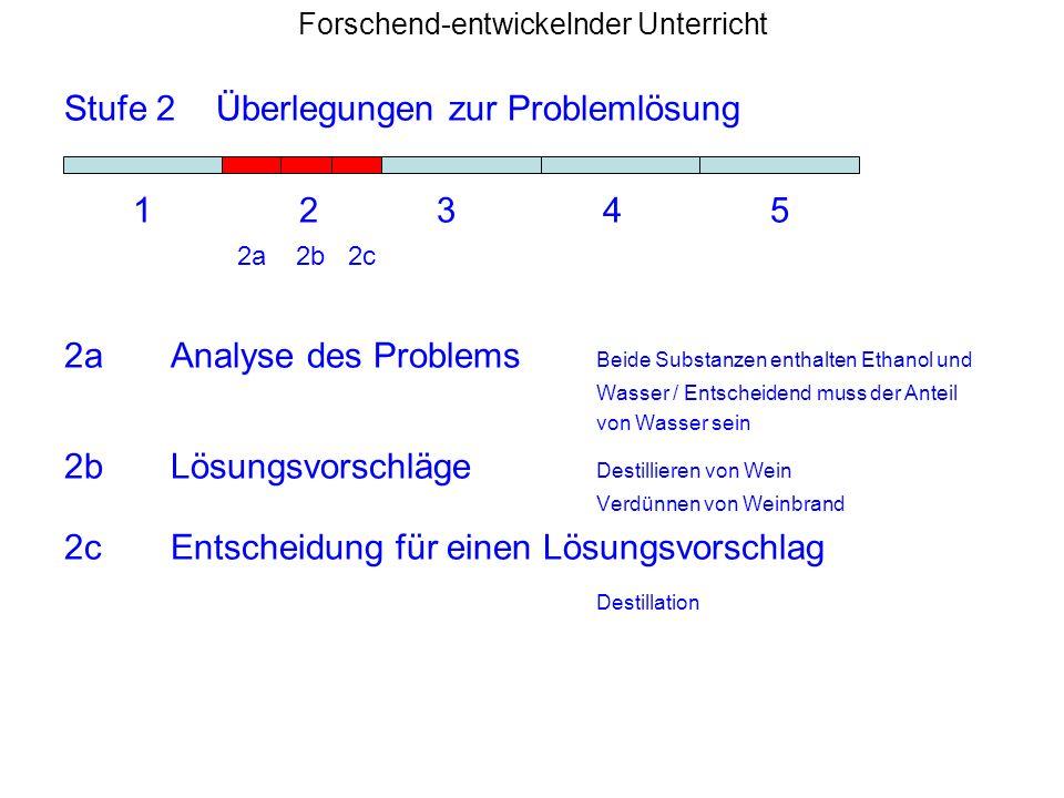 Forschend-entwickelnder Unterricht Stufe 2 Überlegungen zur Problemlösung 1 2 3 4 5 2a 2b 2c 2aAnalyse des Problems Beide Substanzen enthalten Ethanol