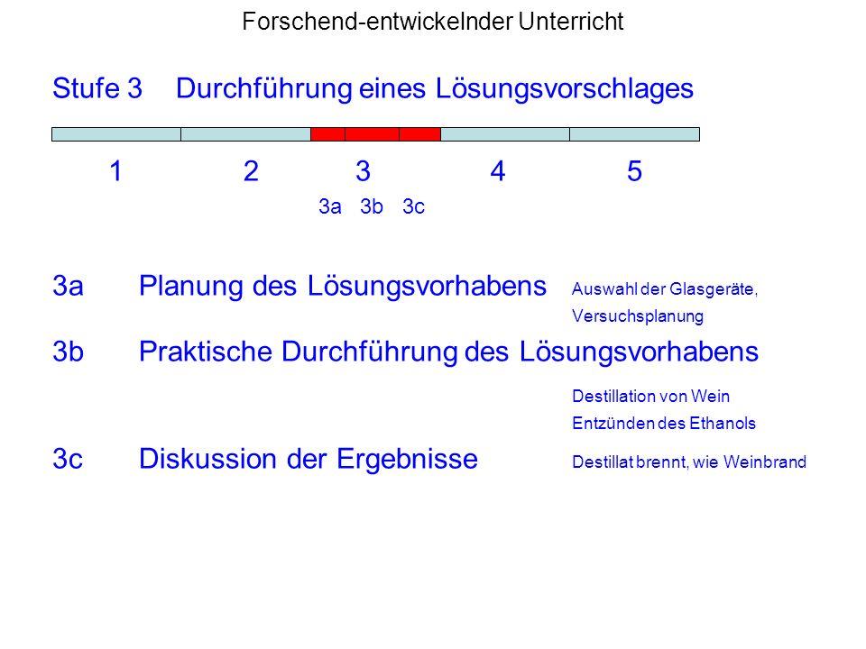 Forschend-entwickelnder Unterricht Stufe 3 Durchführung eines Lösungsvorschlages 1 2 3 4 5 3a 3b 3c 3aPlanung des Lösungsvorhabens Auswahl der Glasger