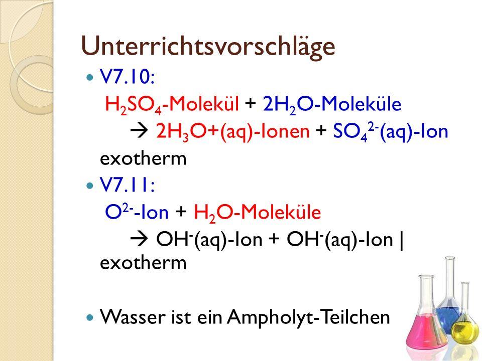 Unterrichtsvorschläge V7.10: H 2 SO 4 -Molekül + 2H 2 O-Moleküle 2H 3 O+(aq)-Ionen + SO 4 2- (aq)-Ion exotherm V7.11: O 2- -Ion + H 2 O-Moleküle OH -