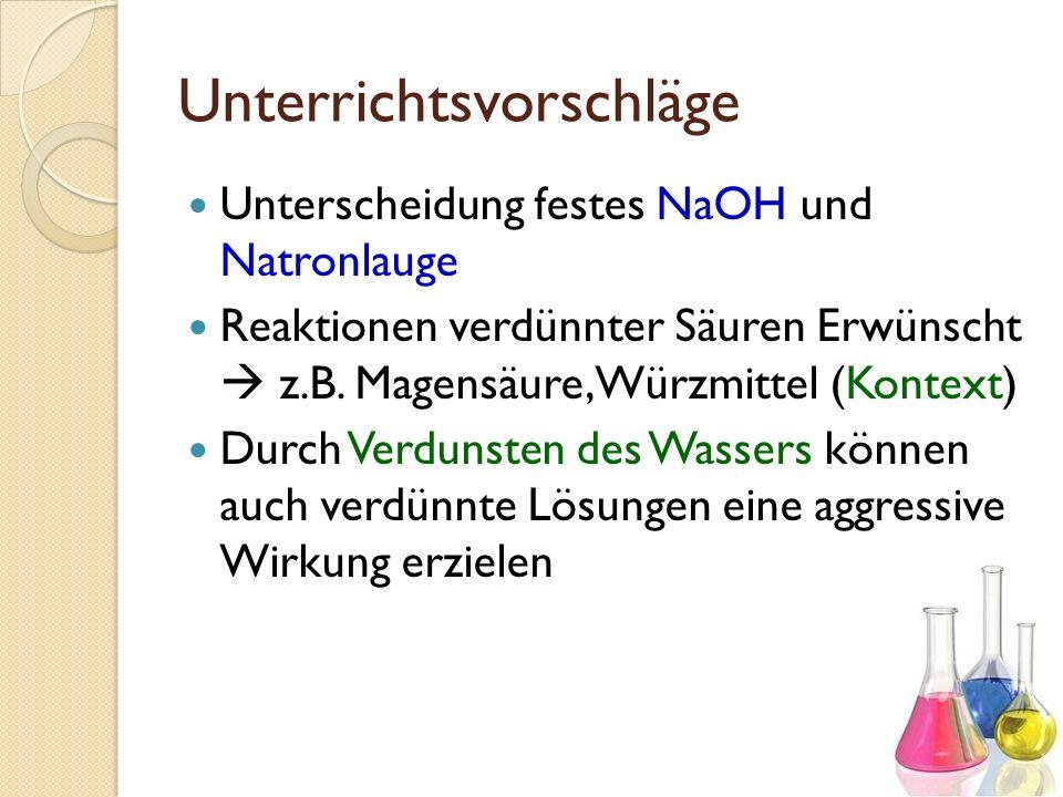 Unterrichtsvorschläge Unterscheidung festes NaOH und Natronlauge Reaktionen verdünnter Säuren Erwünscht z.B. Magensäure, Würzmittel (Kontext) Durch Ve