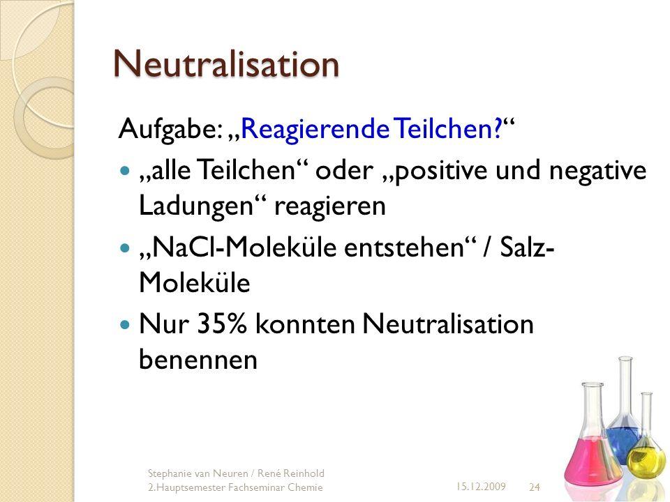 Neutralisation 24 15.12.2009 Stephanie van Neuren / René Reinhold 2.Hauptsemester Fachseminar Chemie Aufgabe: Reagierende Teilchen? alle Teilchen oder