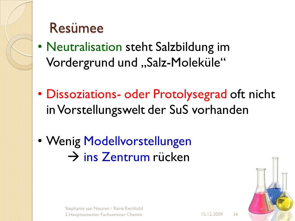 34 15.12.2009 Stephanie van Neuren / René Reinhold 2.Hauptsemester Fachseminar Chemie Resümee Neutralisation steht Salzbildung im Vordergrund und Salz
