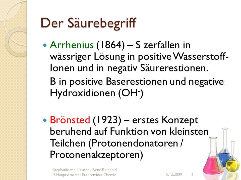 Der Säurebegriff Arrhenius (1864) – S zerfallen in wässriger Lösung in positive Wasserstoff- Ionen und in negativ Säurerestionen. B in positive Basere