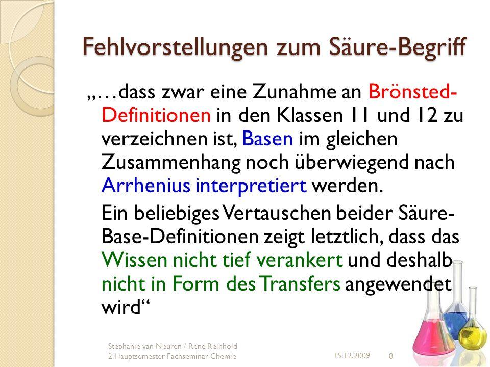 Fehlvorstellungen zum Säure-Begriff …dass zwar eine Zunahme an Brönsted- Definitionen in den Klassen 11 und 12 zu verzeichnen ist, Basen im gleichen Z