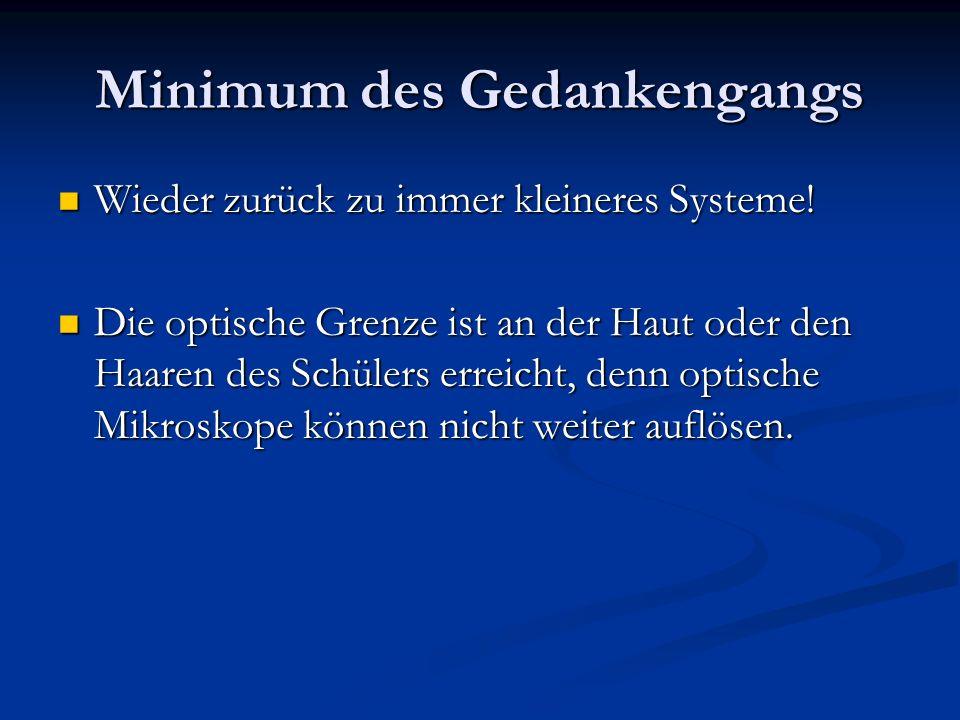 Minimum des Gedankengangs Wieder zurück zu immer kleineres Systeme! Wieder zurück zu immer kleineres Systeme! Die optische Grenze ist an der Haut oder