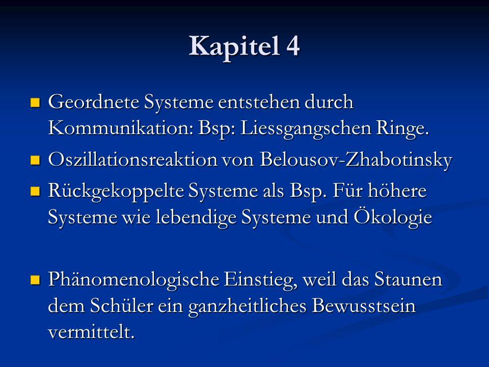 Kapitel 4 Geordnete Systeme entstehen durch Kommunikation: Bsp: Liessgangschen Ringe. Geordnete Systeme entstehen durch Kommunikation: Bsp: Liessgangs