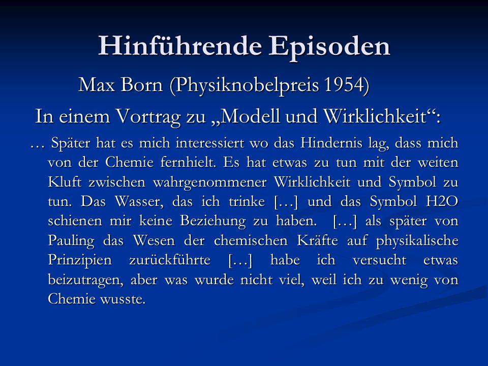 Hinführende Episoden Max Born (Physiknobelpreis 1954) Max Born (Physiknobelpreis 1954) In einem Vortrag zu Modell und Wirklichkeit: In einem Vortrag z