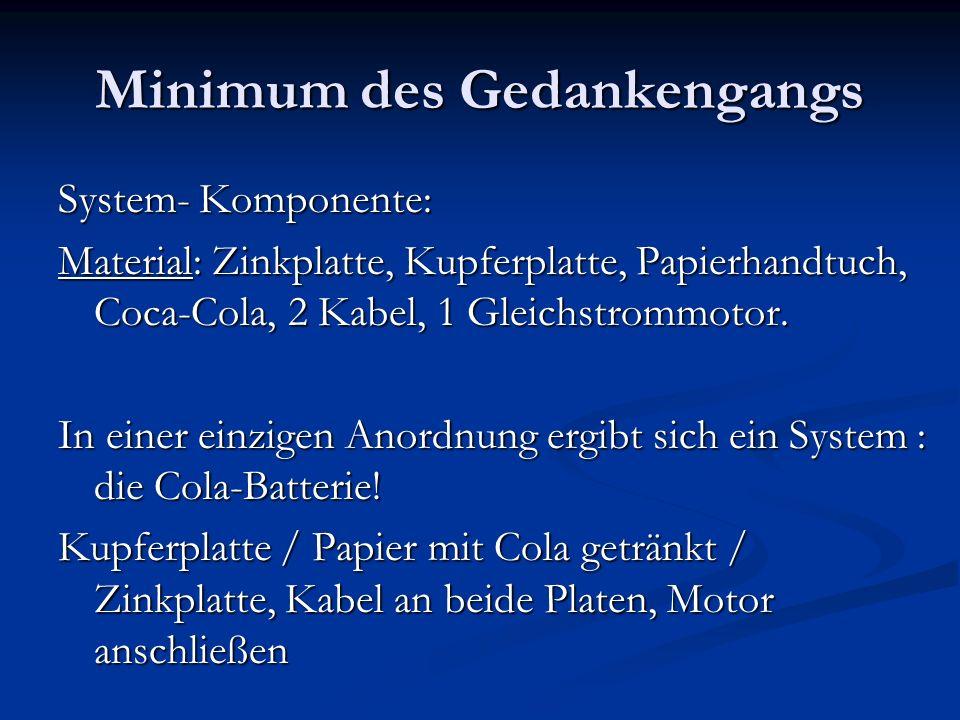 Minimum des Gedankengangs System- Komponente: Material: Zinkplatte, Kupferplatte, Papierhandtuch, Coca-Cola, 2 Kabel, 1 Gleichstrommotor. In einer ein