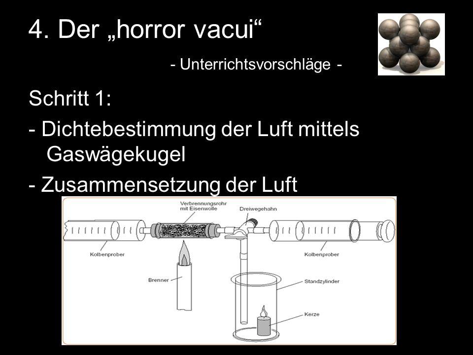 4. Der horror vacui - Unterrichtsvorschläge - Schritt 1: - Dichtebestimmung der Luft mittels Gaswägekugel - Zusammensetzung der Luft