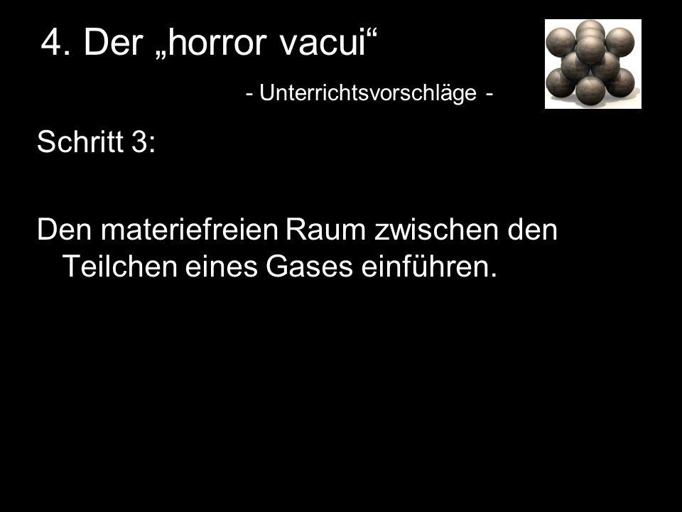 4. Der horror vacui - Unterrichtsvorschläge - Schritt 3: Den materiefreien Raum zwischen den Teilchen eines Gases einführen.