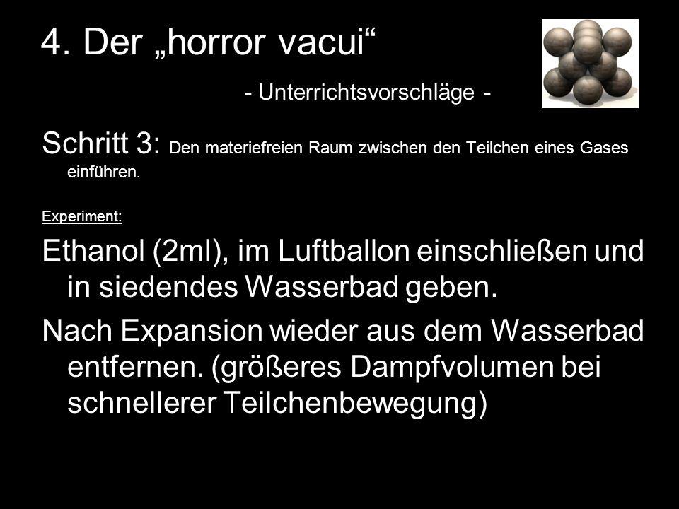4. Der horror vacui - Unterrichtsvorschläge - Schritt 3: Den materiefreien Raum zwischen den Teilchen eines Gases einführen. Experiment: Ethanol (2ml)