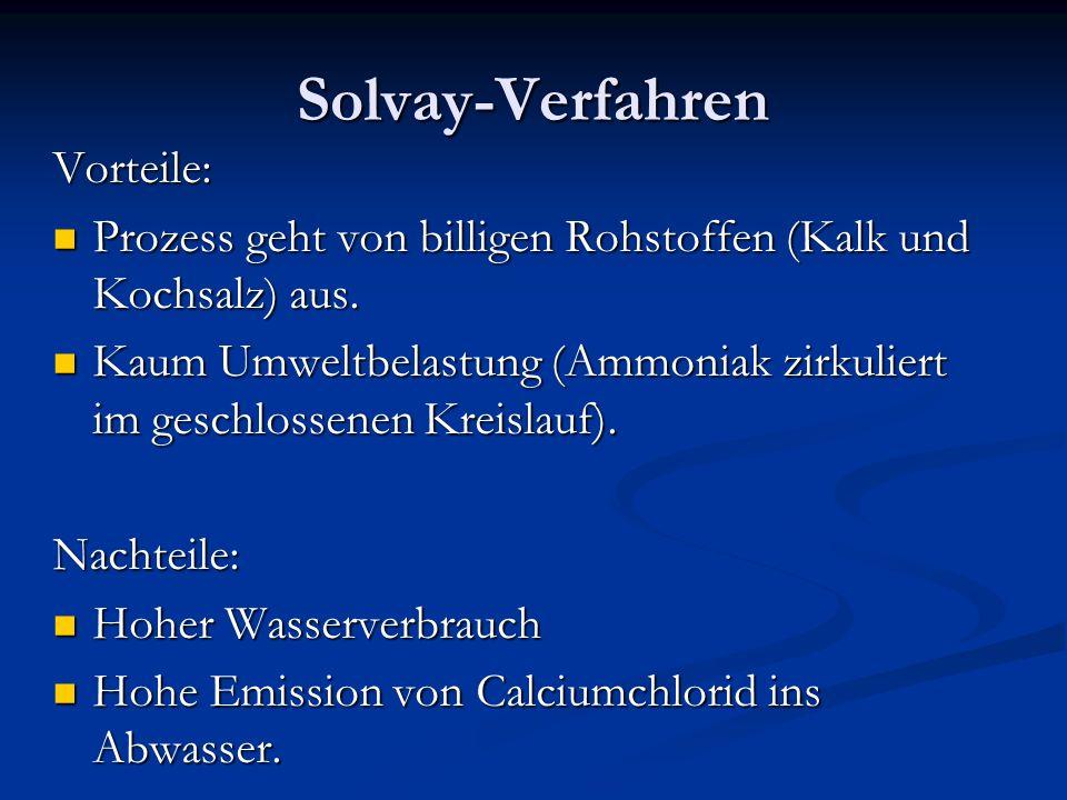 Solvay-Verfahren Vorteile: Prozess geht von billigen Rohstoffen (Kalk und Kochsalz) aus. Prozess geht von billigen Rohstoffen (Kalk und Kochsalz) aus.