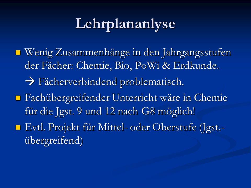 Lehrplananlyse Wenig Zusammenhänge in den Jahrgangsstufen der Fächer: Chemie, Bio, PoWi & Erdkunde. Wenig Zusammenhänge in den Jahrgangsstufen der Fäc