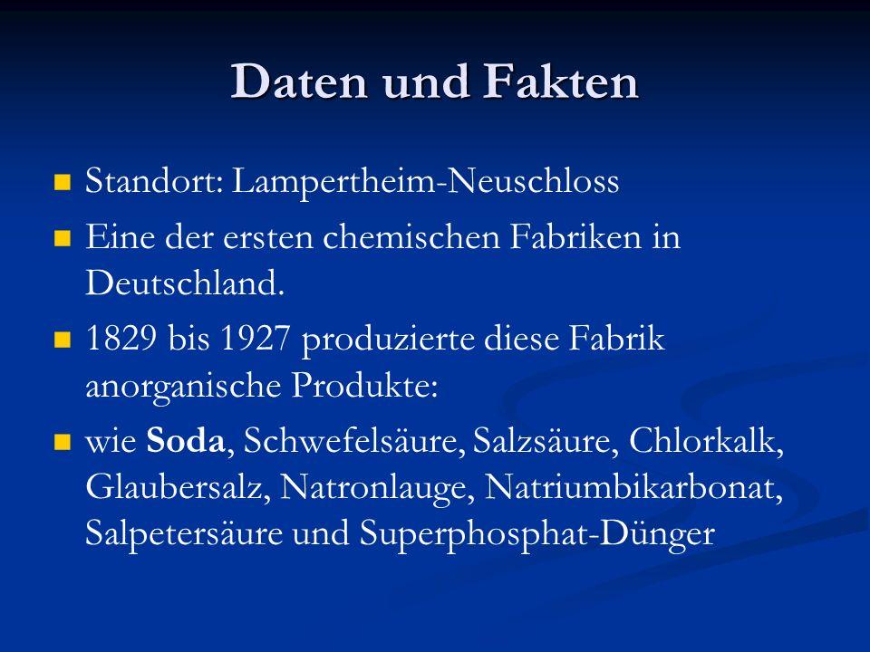 Daten und Fakten Standort: Lampertheim-Neuschloss Eine der ersten chemischen Fabriken in Deutschland. 1829 bis 1927 produzierte diese Fabrik anorganis