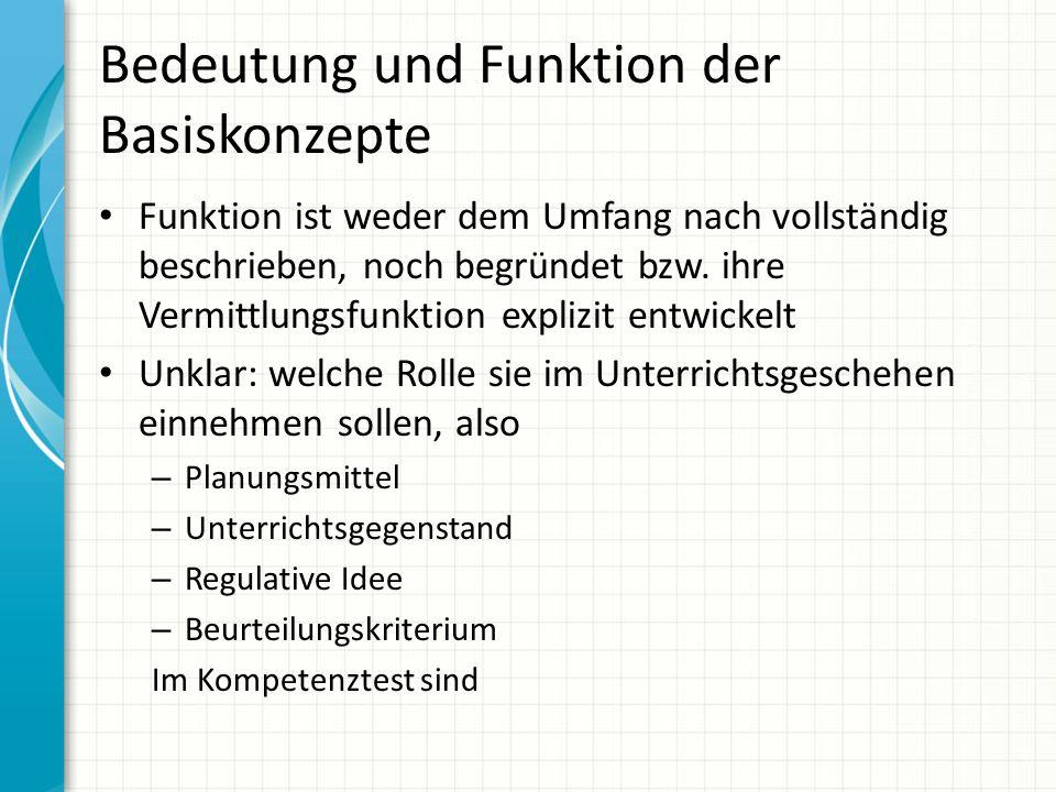Bedeutung und Funktion der Basiskonzepte Funktion ist weder dem Umfang nach vollständig beschrieben, noch begründet bzw. ihre Vermittlungsfunktion exp