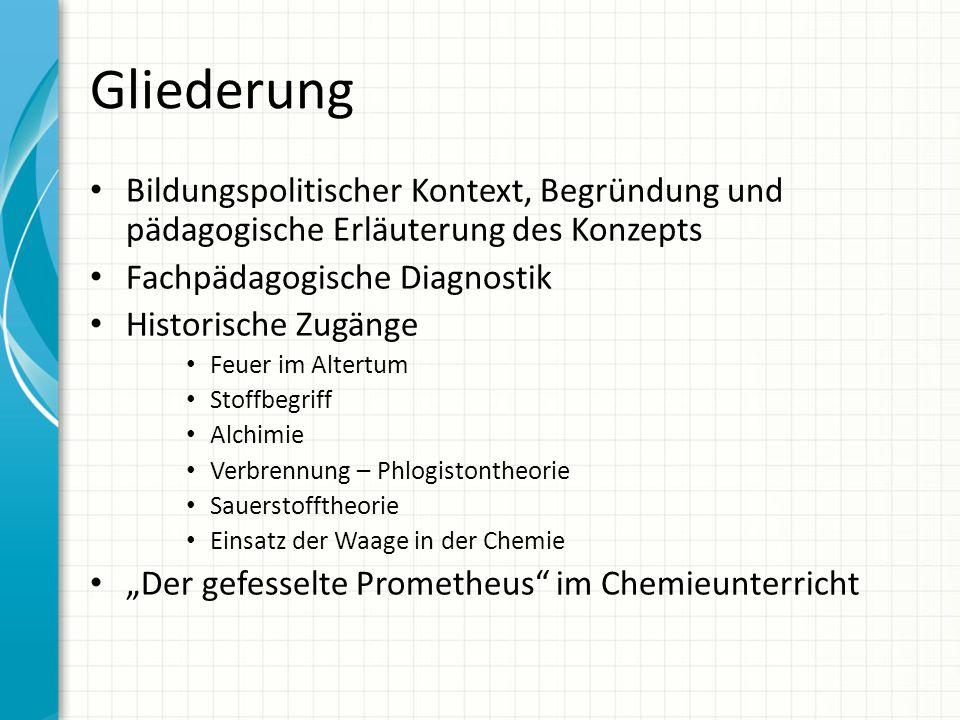 Gliederung Bildungspolitischer Kontext, Begründung und pädagogische Erläuterung des Konzepts Fachpädagogische Diagnostik Historische Zugänge Feuer im
