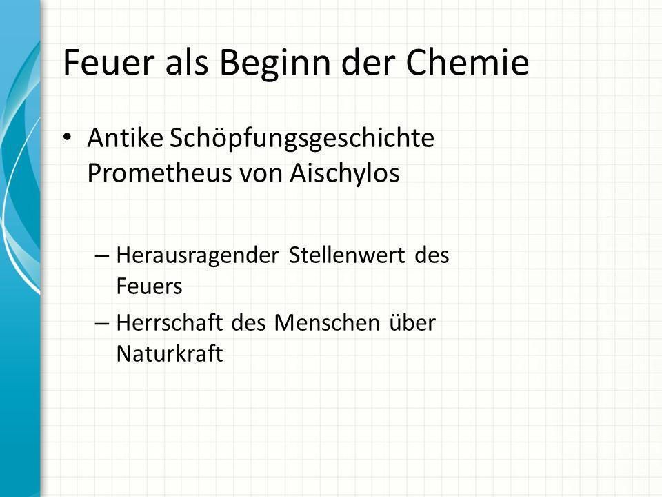 Feuer als Beginn der Chemie Antike Schöpfungsgeschichte Prometheus von Aischylos – Herausragender Stellenwert des Feuers – Herrschaft des Menschen übe