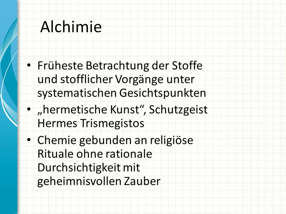 Alchimie Früheste Betrachtung der Stoffe und stofflicher Vorgänge unter systematischen Gesichtspunkten hermetische Kunst, Schutzgeist Hermes Trismegis