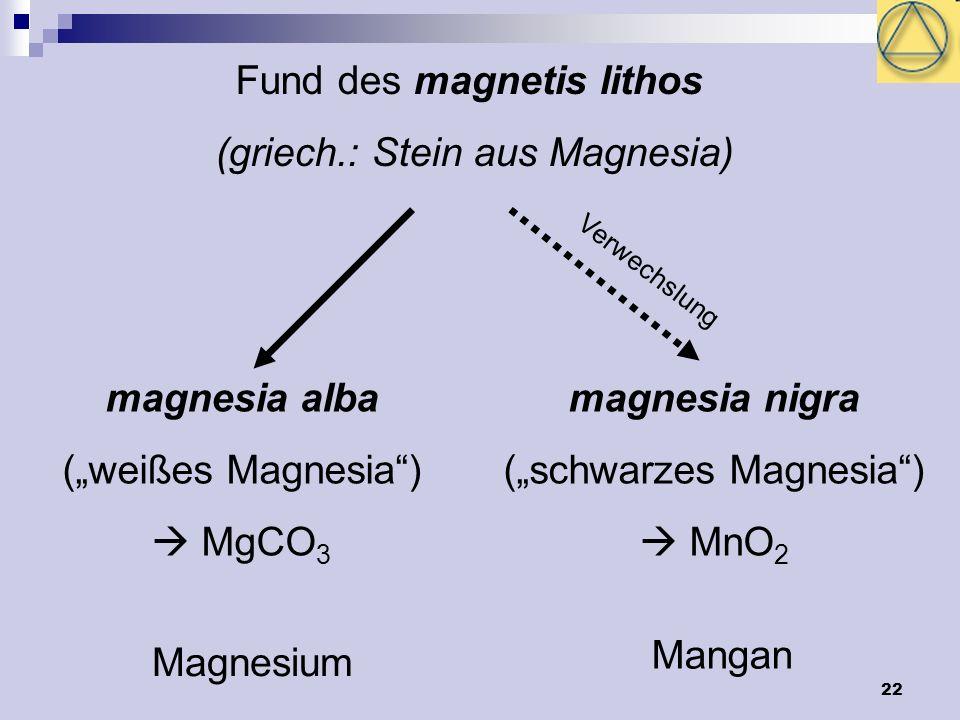 22 Fund des magnetis lithos (griech.: Stein aus Magnesia) magnesia alba (weißes Magnesia) MgCO 3 magnesia nigra (schwarzes Magnesia) MnO 2 Magnesium M