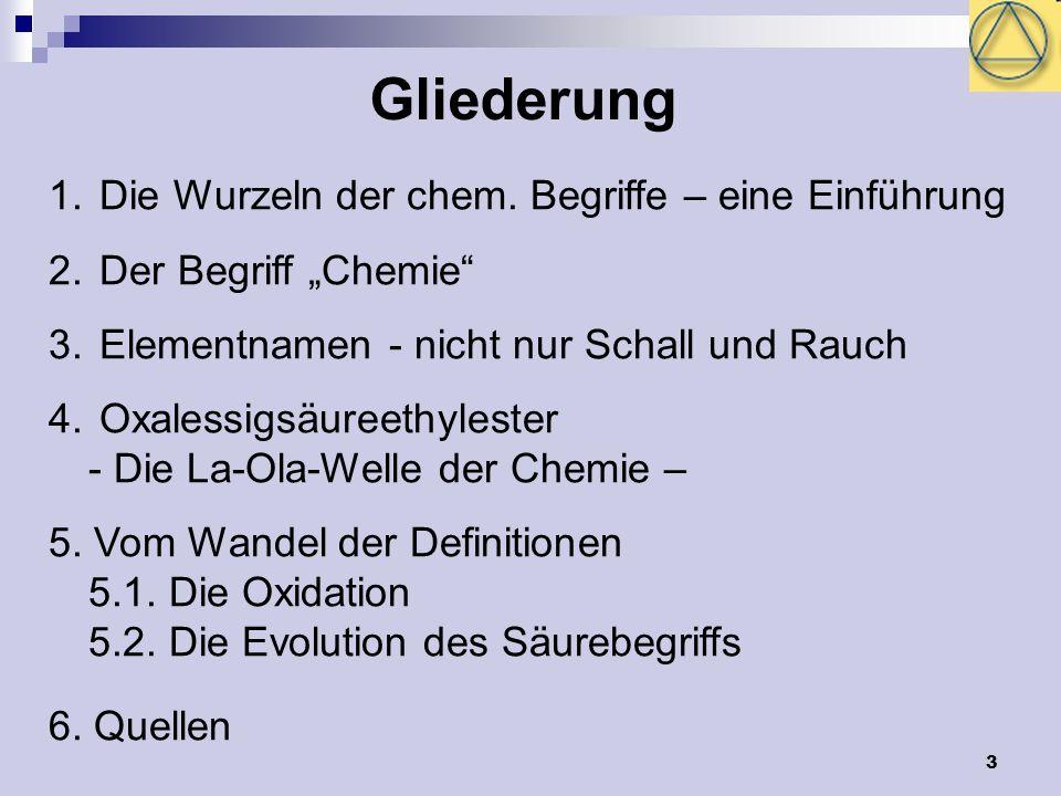 3 Gliederung 1. Die Wurzeln der chem. Begriffe – eine Einführung 2. Der Begriff Chemie 3. Elementnamen - nicht nur Schall und Rauch 4. Oxalessigsäuree