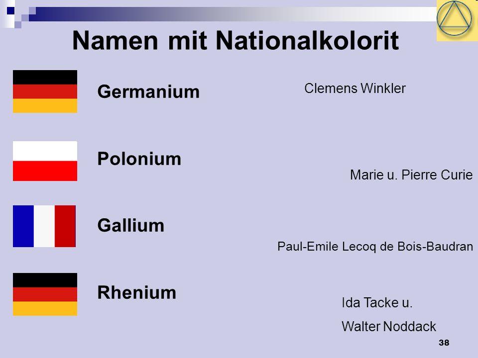 38 Namen mit Nationalkolorit Germanium Polonium Gallium Rhenium Clemens Winkler Marie u. Pierre Curie Paul-Emile Lecoq de Bois-Baudran Ida Tacke u. Wa