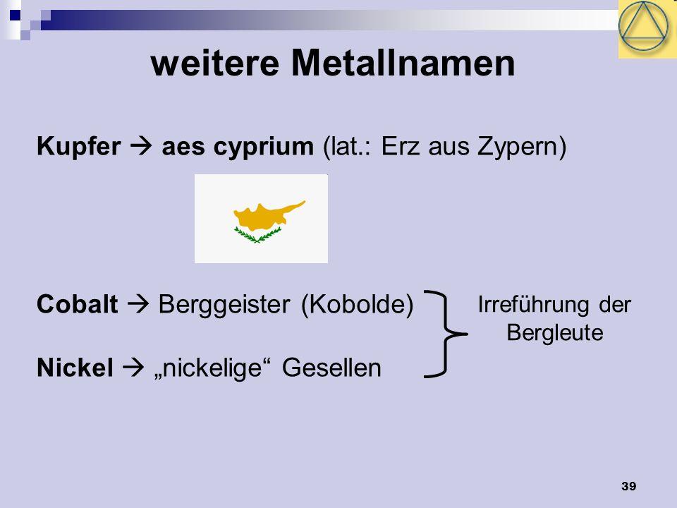 39 weitere Metallnamen Kupfer aes cyprium (lat.: Erz aus Zypern) Cobalt Berggeister (Kobolde) Nickel nickelige Gesellen Irreführung der Bergleute