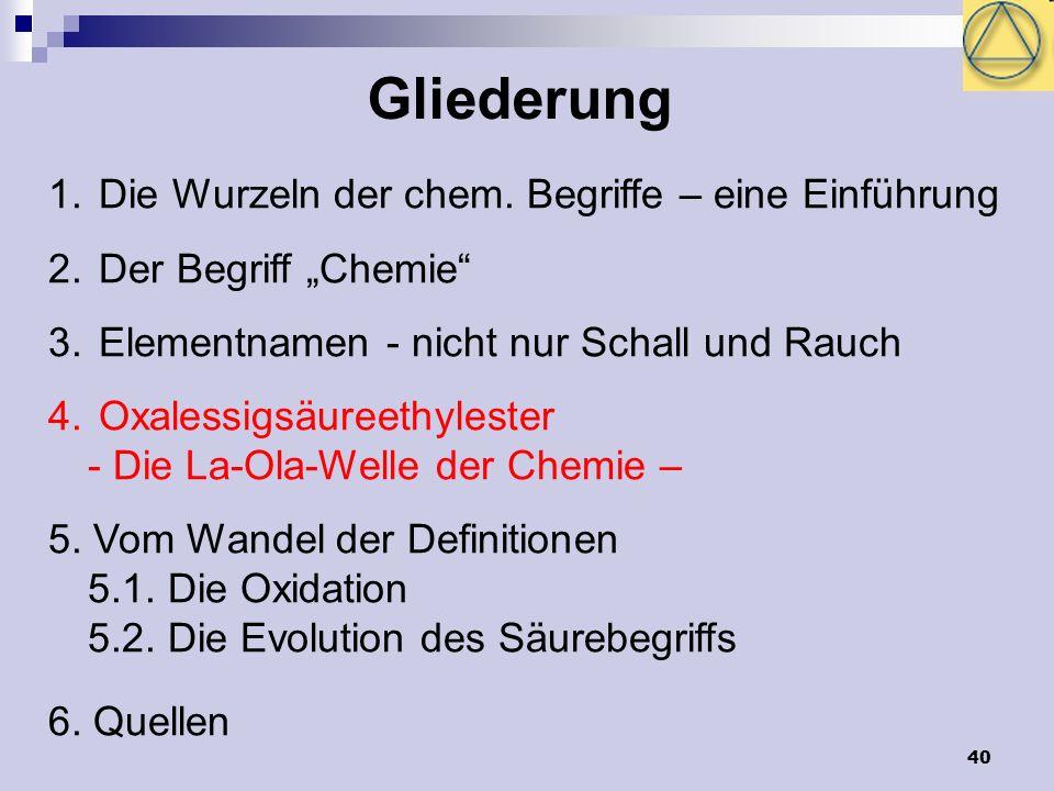 40 Gliederung 1. Die Wurzeln der chem. Begriffe – eine Einführung 2. Der Begriff Chemie 3. Elementnamen - nicht nur Schall und Rauch 4. Oxalessigsäure