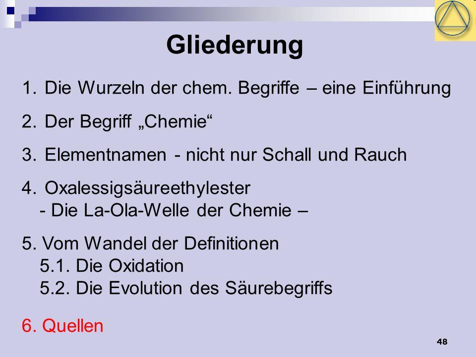 48 Gliederung 1. Die Wurzeln der chem. Begriffe – eine Einführung 2. Der Begriff Chemie 3. Elementnamen - nicht nur Schall und Rauch 4. Oxalessigsäure