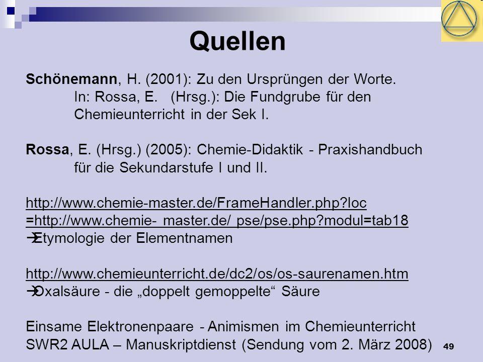49 Quellen Schönemann, H. (2001): Zu den Ursprüngen der Worte. In: Rossa, E. (Hrsg.): Die Fundgrube für den Chemieunterricht in der Sek I. Rossa, E. (