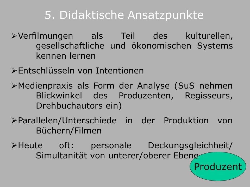 4. Grundlegende Lernpotentiale – Kommunikationsfeld Literaturverfilmung Produzent Medium Rezipient Autor Produzent, Drehbuchautor, Regisseur literar.