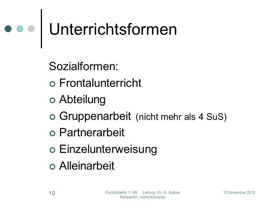Unterrichtsformen Sozialformen: Frontalunterricht Abteilung Gruppenarbeit (nicht mehr als 4 SuS) Partnerarbeit Einzelunterweisung Alleinarbeit 13.Nove
