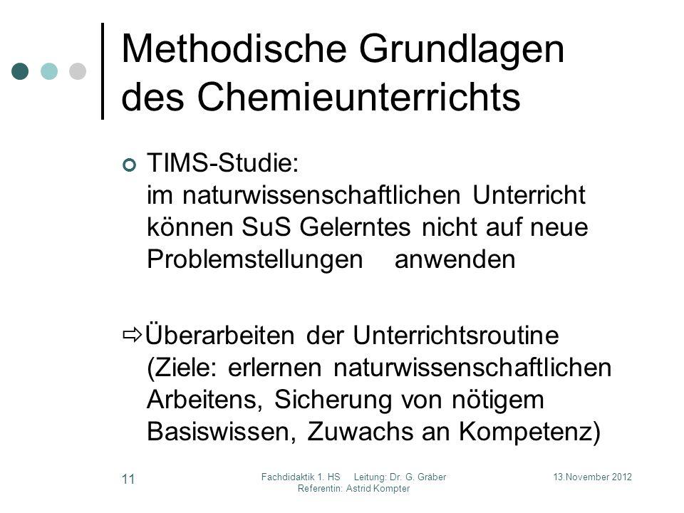 Methodische Grundlagen des Chemieunterrichts TIMS-Studie: im naturwissenschaftlichen Unterricht können SuS Gelerntes nicht auf neue Problemstellungen