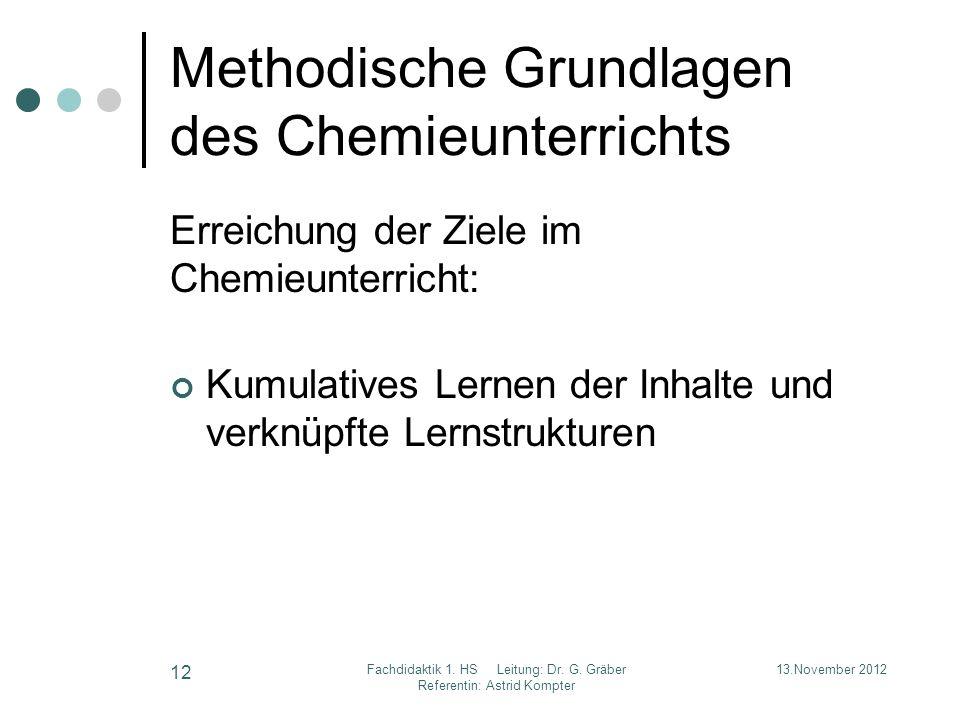Methodische Grundlagen des Chemieunterrichts Erreichung der Ziele im Chemieunterricht: Kumulatives Lernen der Inhalte und verknüpfte Lernstrukturen 13