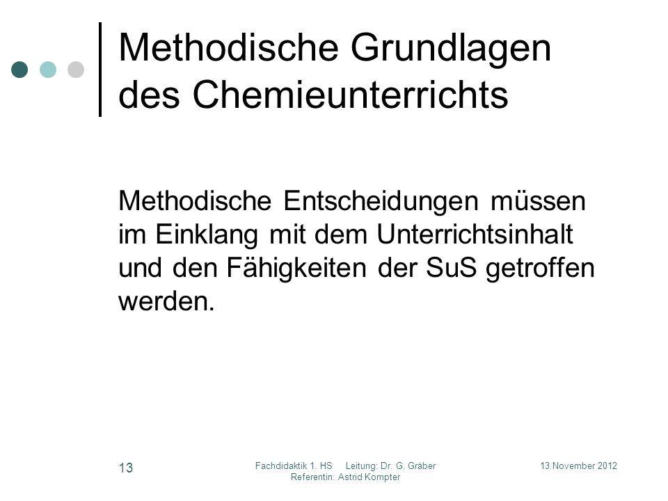 Methodische Grundlagen des Chemieunterrichts Methodische Entscheidungen müssen im Einklang mit dem Unterrichtsinhalt und den Fähigkeiten der SuS getro