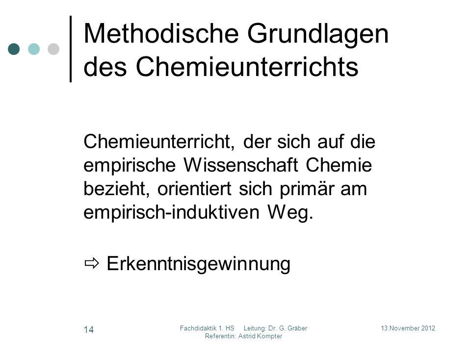 Methodische Grundlagen des Chemieunterrichts Chemieunterricht, der sich auf die empirische Wissenschaft Chemie bezieht, orientiert sich primär am empi