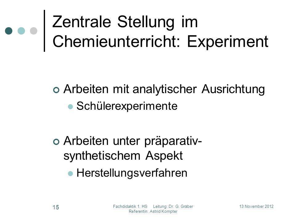 Zentrale Stellung im Chemieunterricht: Experiment Arbeiten mit analytischer Ausrichtung Schülerexperimente Arbeiten unter präparativ- synthetischem As