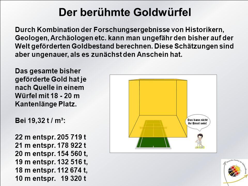 Der berühmte Goldwürfel Durch Kombination der Forschungsergebnisse von Historikern, Geologen, Archäologen etc. kann man ungefähr den bisher auf der We