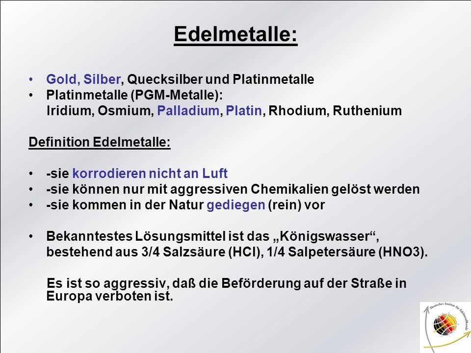 Edelmetalle: Gold, Silber, Quecksilber und Platinmetalle Platinmetalle (PGM-Metalle): Iridium, Osmium, Palladium, Platin, Rhodium, Ruthenium Definitio