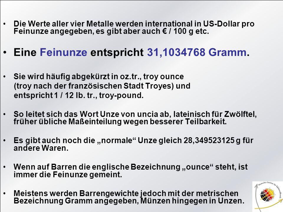 Die Werte aller vier Metalle werden international in US-Dollar pro Feinunze angegeben, es gibt aber auch / 100 g etc. Eine Feinunze entspricht 31,1034