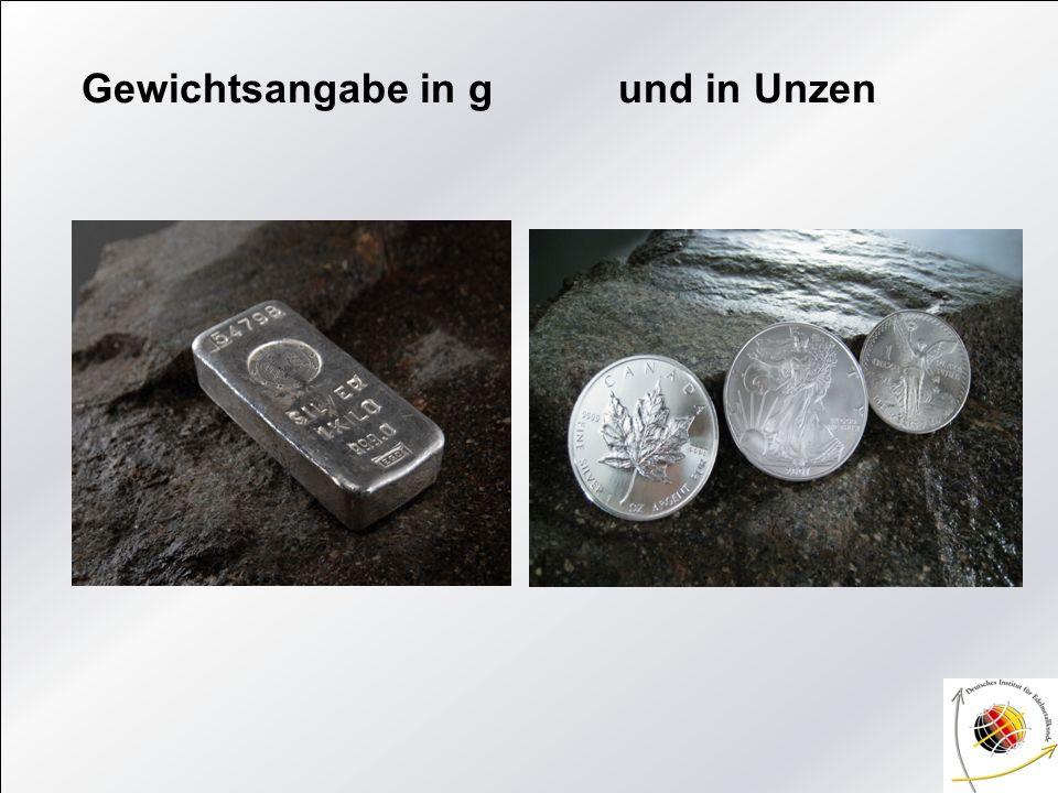 Barren aus: Silber Platin Palladium Gold (Umicore ist die frühere Degussa) Barren gegossen Barren geprägt
