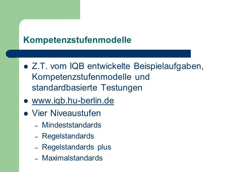 Kompetenzstufenmodelle Z.T. vom IQB entwickelte Beispielaufgaben, Kompetenzstufenmodelle und standardbasierte Testungen www.iqb.hu-berlin.de Vier Nive